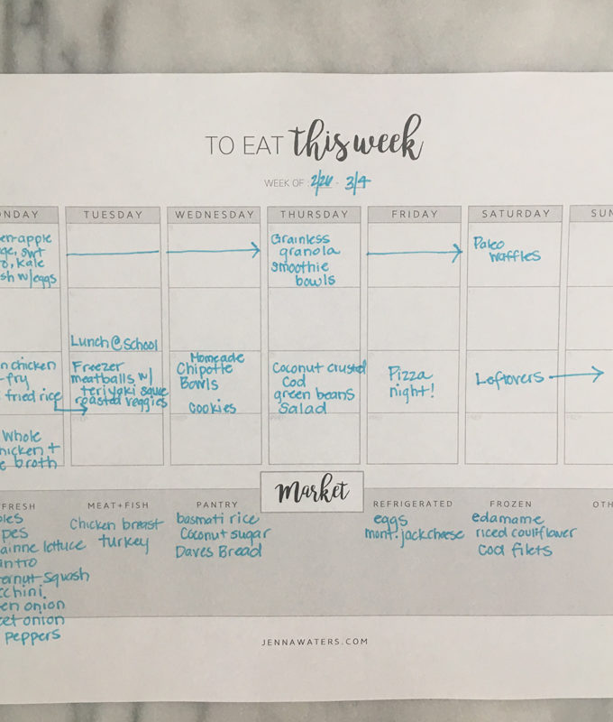Weekly Meal Plan: February 26th – March 4th