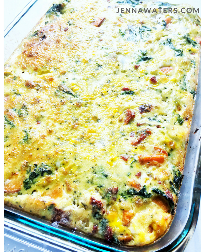 Bacon, Sweet Potato, Sun-dried Tomato Breakfast Casserole